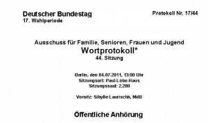 cover_Protokoll Deutscher Bundestag_Anhörung Ausschuss Familie